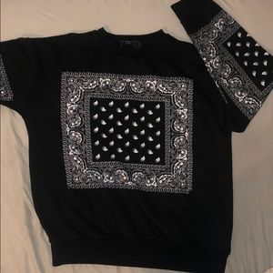 Classic Black and White  Bandana Crew Neck Sweater